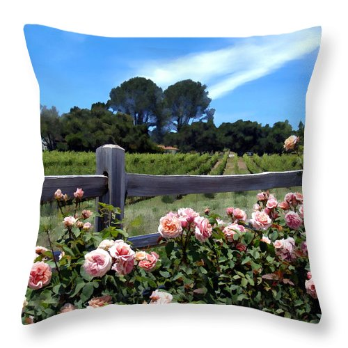 Flowers Throw Pillow featuring the photograph Roses At Rusack Vineyards by Kurt Van Wagner