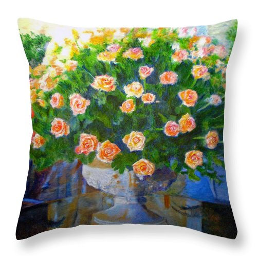 Rose Throw Pillow featuring the painting Roses At Table Bay by Michael Durst