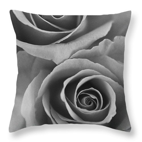 Roses Throw Pillow featuring the photograph Roses black and white by Jill Reger