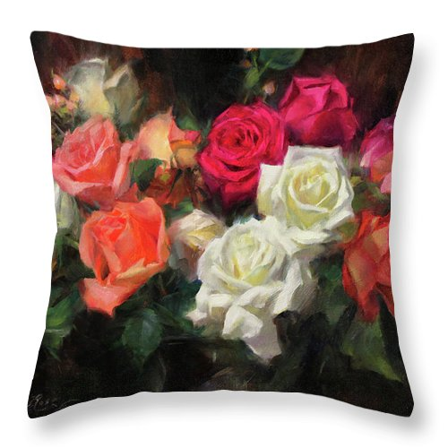 Roses Throw Pillow featuring the painting Roses for Kim by Anna Rose Bain