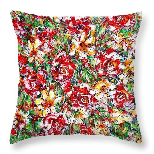 Red Roses Throw Pillow featuring the painting Roses For You by Natalie Holland