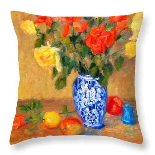 Rose Throw Pillow featuring the painting Roses In A Mexican Vase by Bunny Oliver