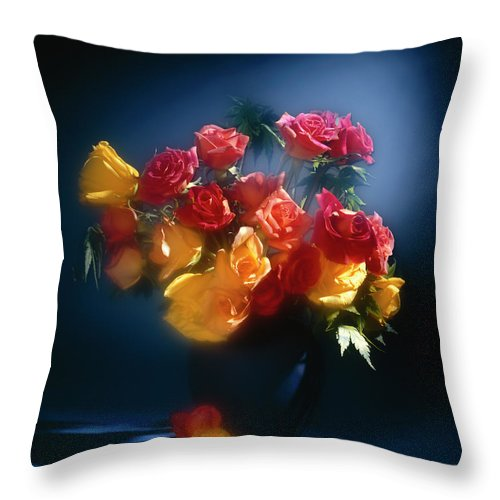 Arty Throw Pillow featuring the photograph Roses In The Blue by Stefania Levi
