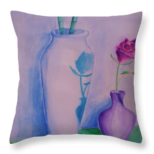 Red Rose Throw Pillow featuring the painting Roses In Vase by Eric Schiabor