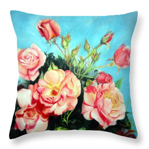 Flowers Throw Pillow featuring the painting Roses by Leyla Munteanu