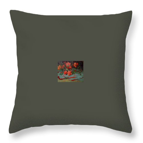Rose Throw Pillow featuring the painting Roses by Margaret Aycock