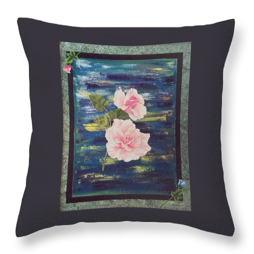 Rose Throw Pillow featuring the painting Roses by Micah Guenther