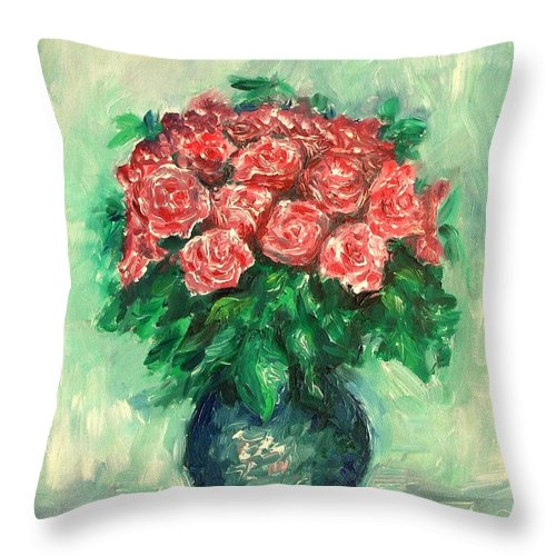 Oil Canvas Throw Pillow featuring the painting Roses Oil Painting by Natalja Picugina