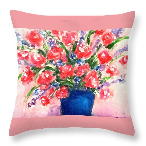 Roses Throw Pillow featuring the painting Roses On Blue Vase by Hae Kim