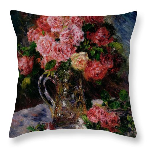 Roses Throw Pillow featuring the painting Roses by Pierre Auguste Renoir