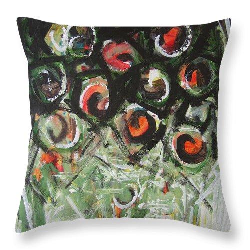 Abstract Painting Throw Pillow featuring the painting Roses by Seon-Jeong Kim