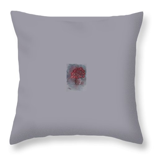 Watercolor Throw Pillow featuring the painting ROSES still life watercolor floral painting poster print by Derek Mccrea