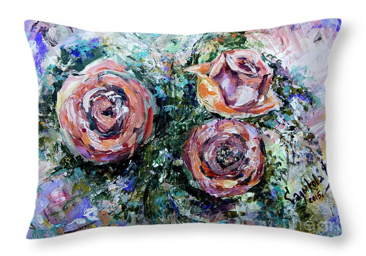 Roses Throw Pillow featuring the painting Roses by Yana Sadykova