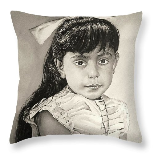 Portrait Throw Pillow featuring the painting Rosetta by Andrew Read