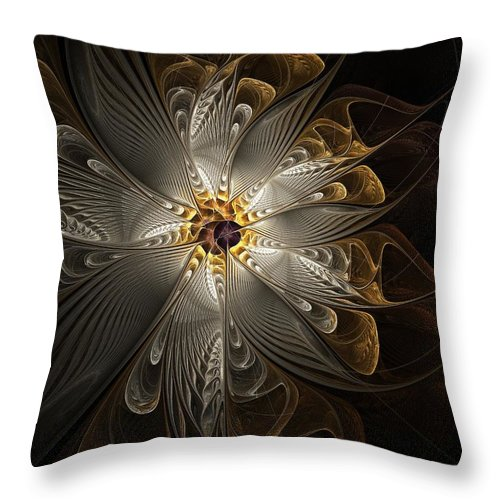 Digital Art Throw Pillow featuring the digital art Rosette In Gold And Silver by Amanda Moore