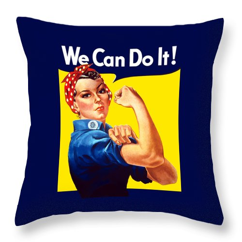 Rosie The Riveter Throw Pillow featuring the painting Rosie The Rivetor by War Is Hell Store