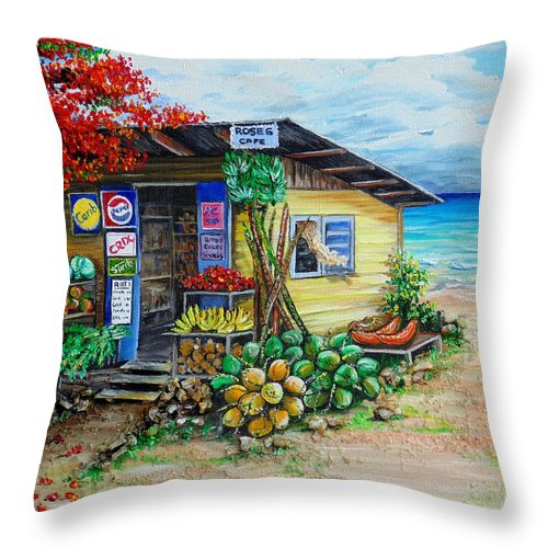 Beach Cafe Throw Pillow featuring the painting Rosies Beach Cafe by Karin Dawn Kelshall- Best