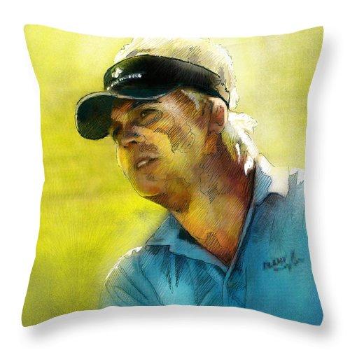 Golf Painting Portrait Ross Mcgowan Throw Pillow featuring the painting Ross Mcgowan In The Madrid Masters by Miki De Goodaboom