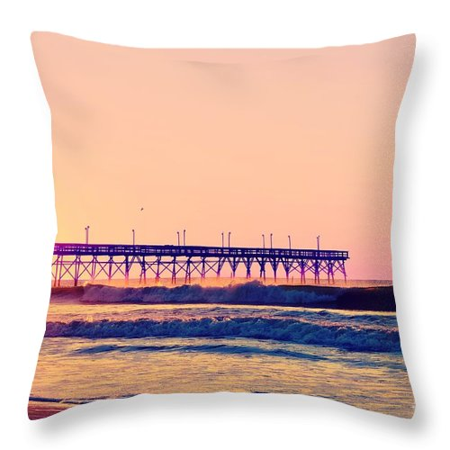 Beach Throw Pillow featuring the photograph Rosy Glow by Kelly Nowak