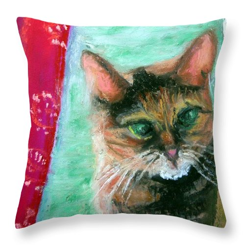 Cat Throw Pillow featuring the painting Rosy In Color by Minaz Jantz