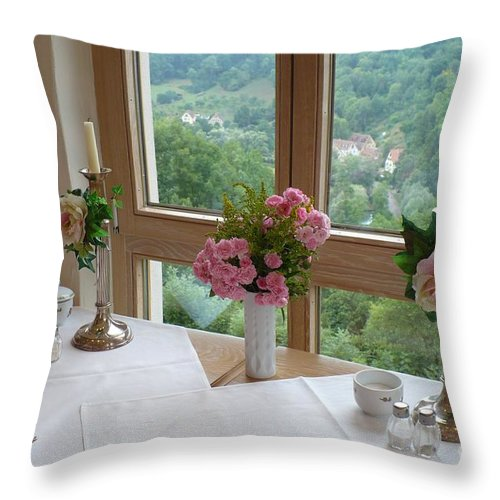 Rothenburg Throw Pillow featuring the photograph Rothenburg Dining With A View by Carol Groenen