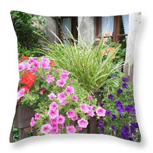 Garden Throw Pillow featuring the photograph Rothenburg Flower Box by Carol Groenen
