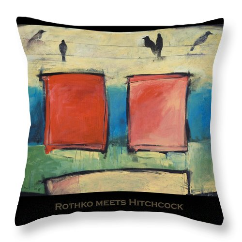 Rothko Throw Pillow featuring the painting Rothko Meets Hitchcock - Poster by Tim Nyberg