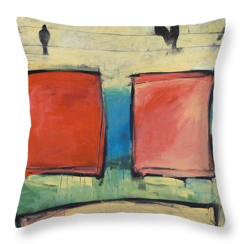 Rothko Throw Pillow featuring the painting Rothko Meets Hitchcock by Tim Nyberg