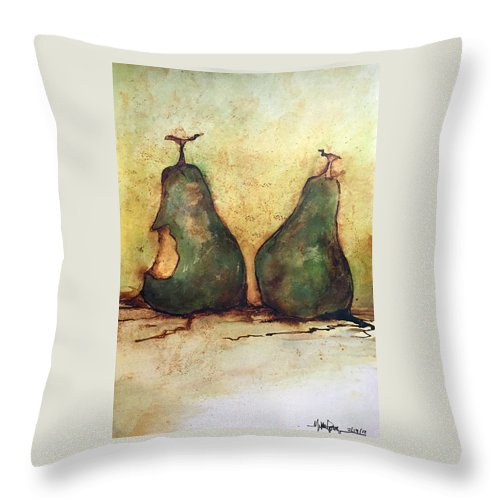 Throw Pillow featuring the painting Rotting Pairs by Michael Rome