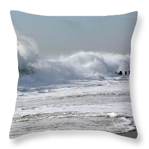 Seascape Throw Pillow featuring the photograph Rough Morning by Mary Haber