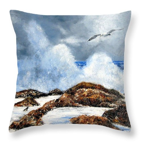 Seascape Throw Pillow featuring the painting Rough Surf In Nj by Leonardo Ruggieri