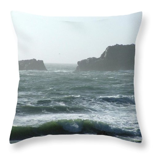 Oceanes Throw Pillow featuring the photograph Rough Waters by Shari Chavira