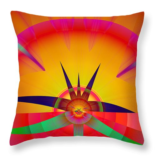 Fractal Throw Pillow featuring the digital art Round Burst by Frederic Durville