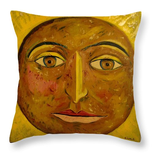 Face Throw Pillow featuring the painting Round face by Biagio Civale