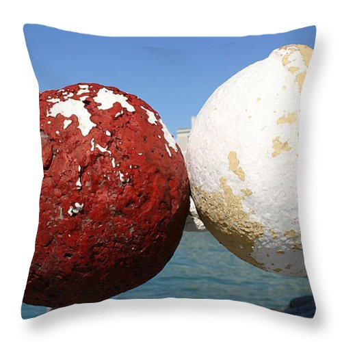 Buoys Throw Pillow featuring the photograph Round by Mary Haber