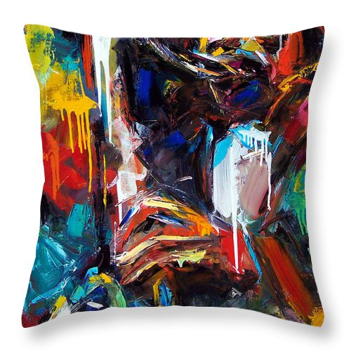 Painting Throw Pillow featuring the painting Round Midnight by Debra Hurd