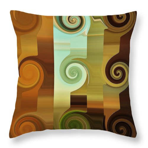 Abstract Art Throw Pillow featuring the digital art Round Up by Diana Chason