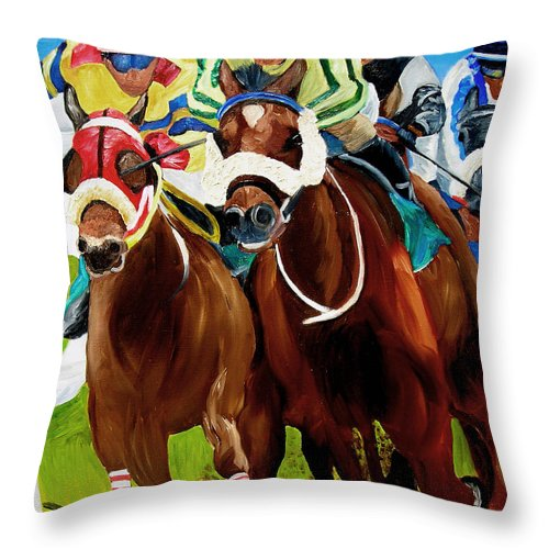 Horse Racing Throw Pillow featuring the painting Rounding The Bend by Michael Lee