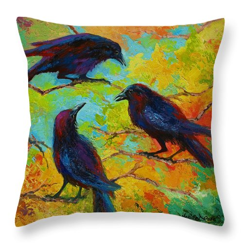 Crows Throw Pillow featuring the painting Roundtable Discussion - Crows by Marion Rose