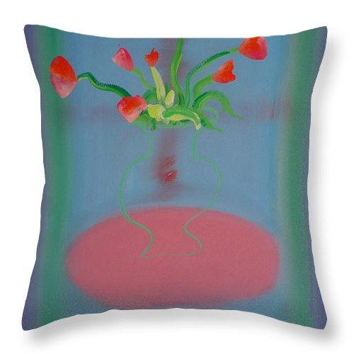Flower Throw Pillow featuring the painting Rouseau Flowers by Charles Stuart