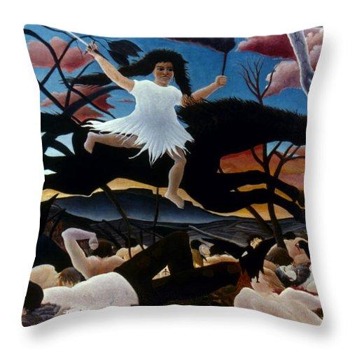 1894 Throw Pillow featuring the photograph Rousseau: War, 1894 by Granger
