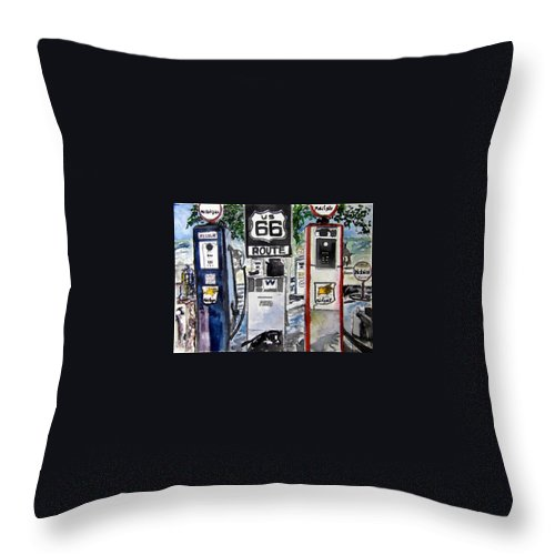 Route 66 Throw Pillow featuring the painting Route 66 by Derek Mccrea