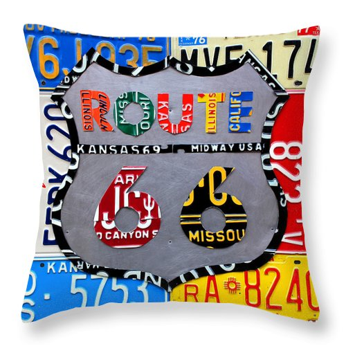 Route 66 Highway Road Sign License Plate Art Travel License Plate Map Throw Pillow featuring the mixed media Route 66 Highway Road Sign License Plate Art by Design Turnpike