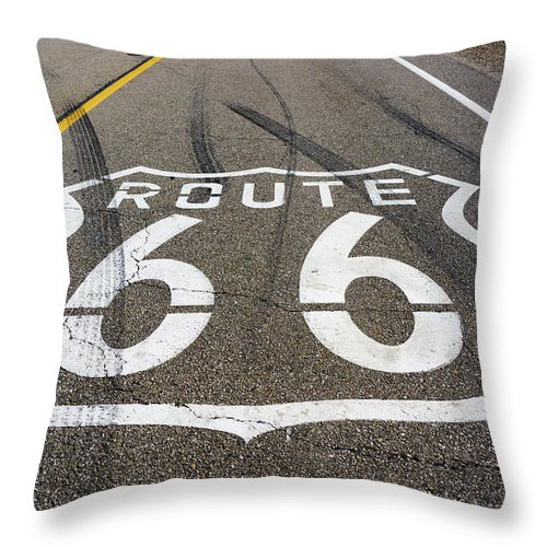 Route Throw Pillow featuring the digital art Route 66 Highway Sign by Stevie Benintende
