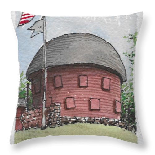 Route 66 Ok Throw Pillow featuring the drawing Route 66 Ok by Jim Hamm