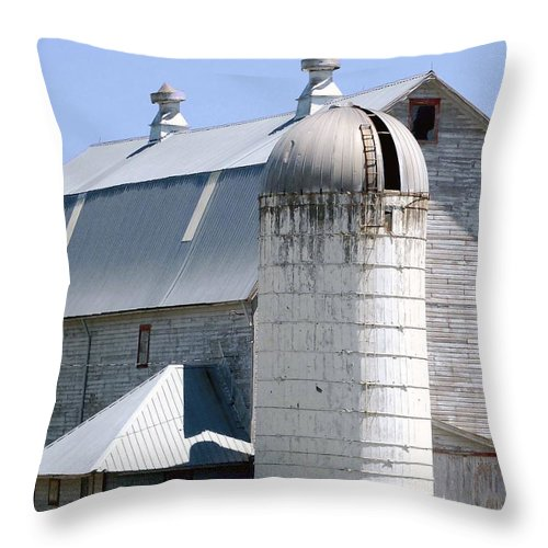 Route Throw Pillow featuring the digital art Route 81 Barn by DigiArt Diaries by Vicky B Fuller