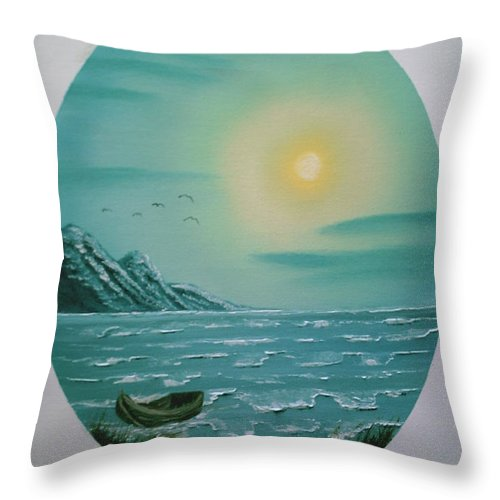 Seascape Throw Pillow featuring the painting Rowboat by Jim Saltis