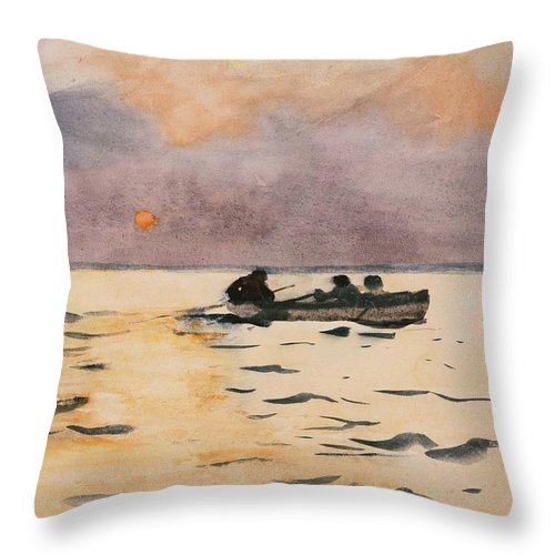 Winslow Homer Throw Pillow featuring the painting Rowing Home by Winslow Homer
