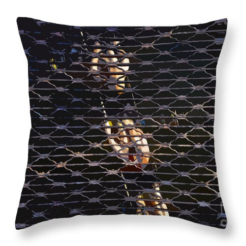 Sculling Throw Pillow featuring the painting Rowing Through The Grate by David Lee Thompson