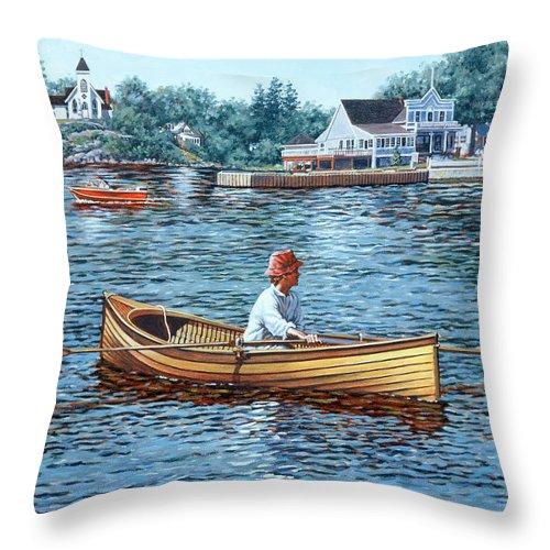 Rockport Throw Pillow featuring the painting Rowing To Rockport by Richard De Wolfe